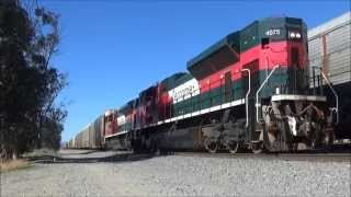 2 Ferromex SD70ACes Around Pedley, CA Running Long Hood Forward - 12/26/14