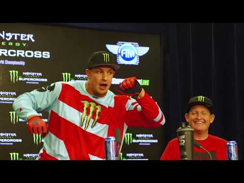 Rob Gronkowski hops on motorcycle at Monster Energy Supercross at Gillette Stadium