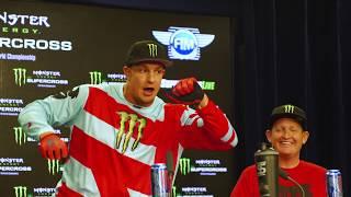 Rob Gronkowski hops on motorcycle at Monster Energy Supercross at Gillette Stadium thumbnail