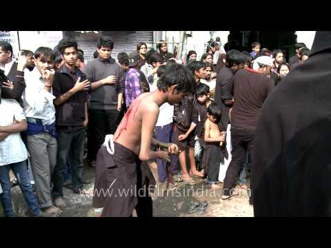 Shia Muslims performing painful rituals on Muharram