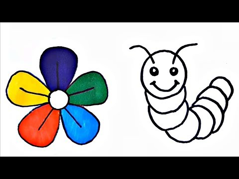 flower-and-worm-drawing-coloring-book-flower-coloring-page
