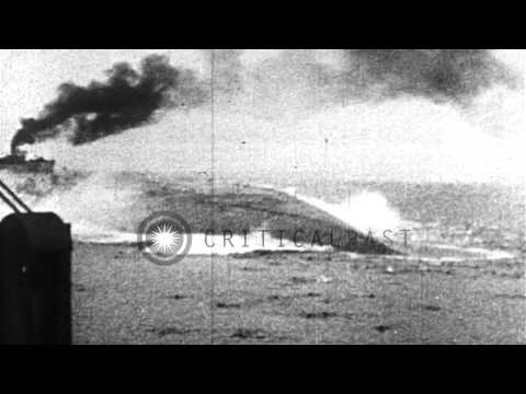 Rolling over and sinking of Austro-Hungarian warship SMS Szent István during Worl...HD Stock Footage