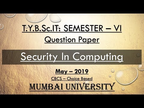 Security In Computing (May – 2019) [Choice Based | Question