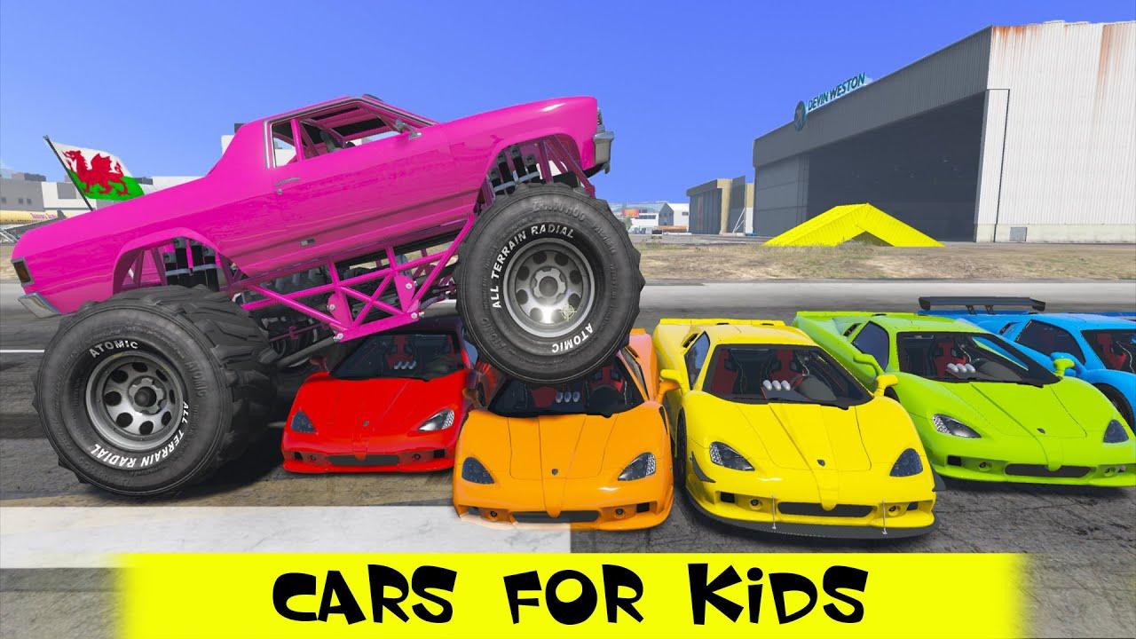 spiderman cartoon police monster truck colors cars nursery rhymes kids songs youtube