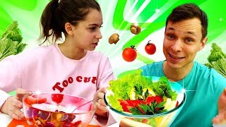 Челлендж телепатия: салат от Федора и Вики. Смешное видео для детей.