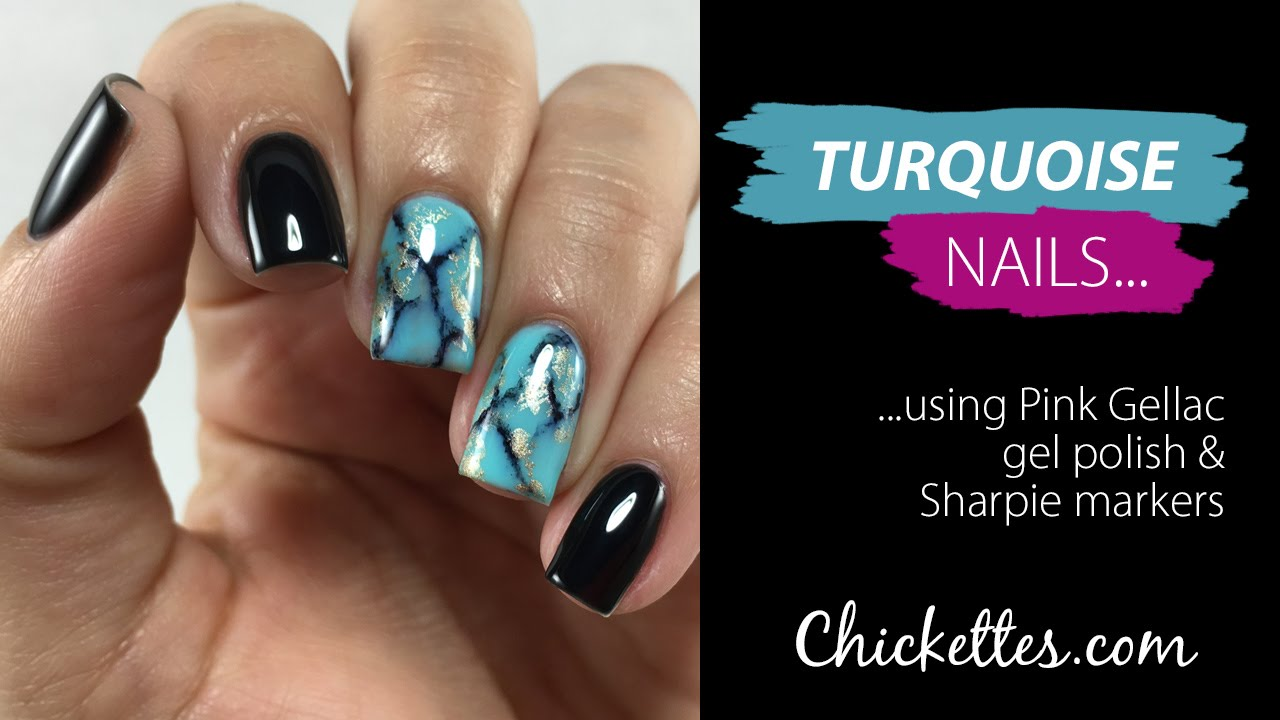 Turquoise Stone Nail Art Using Gel Polish & Sharpie ...