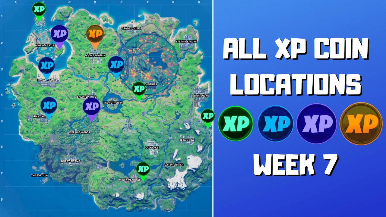 All 10 Xp Coins Locations In Fortnite Season 4 Chapter 2 Week 7 Green Blue Purple And Gold Youtube