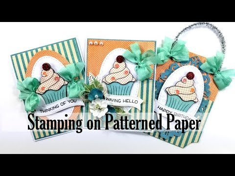 Stamping on Patterned Paper Birthday Cards Polly's Paper Studio Tutorial Vintage How To DIY Process