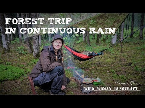 Trip In The Forest With Unceasing Rain And Wild Cooking- Vanessa Blank - Wild Woman Bushcraft- 4k