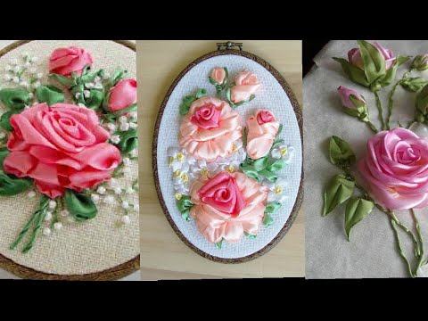 Ribbon Embroidery/Ribbon Roses/Hand Made Ribbon Embroidered flowers