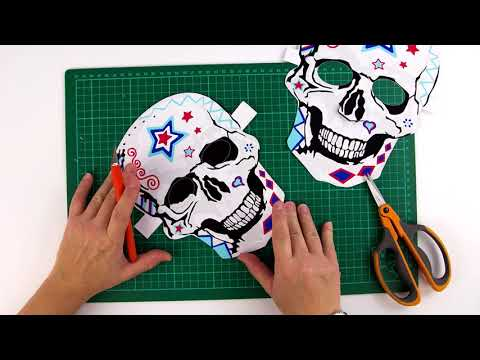 Fast Halloween costume, paper Skull mask for Adult and kid