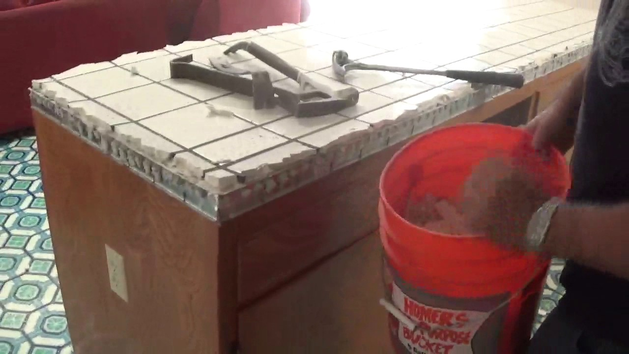 How To Remove Or Demolish Old Tile Countertop Youtube