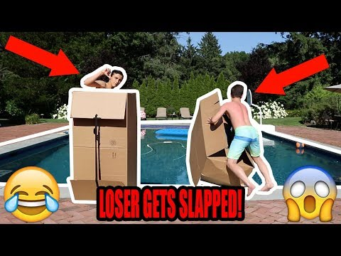 DONT PUSH THE WRONG MYSTERY BOX INTO THE WATER! (LOSER GETS SLAPPED)
