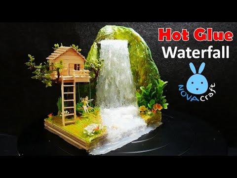 Hot Glue Waterfall mini House Building Tinker Bell's Tree house Tutorial - Hot Glue NOVA Craft