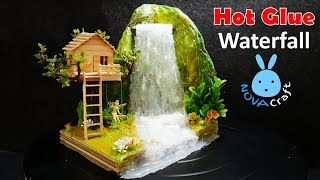Hot Glue Waterfall mini House Building Tinker Bell's Tree house Tutorial - Hot Glue NOVA Craft