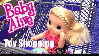 Baby Alive Goes Toy Shopping at Toys R Us for New Baby Sister!