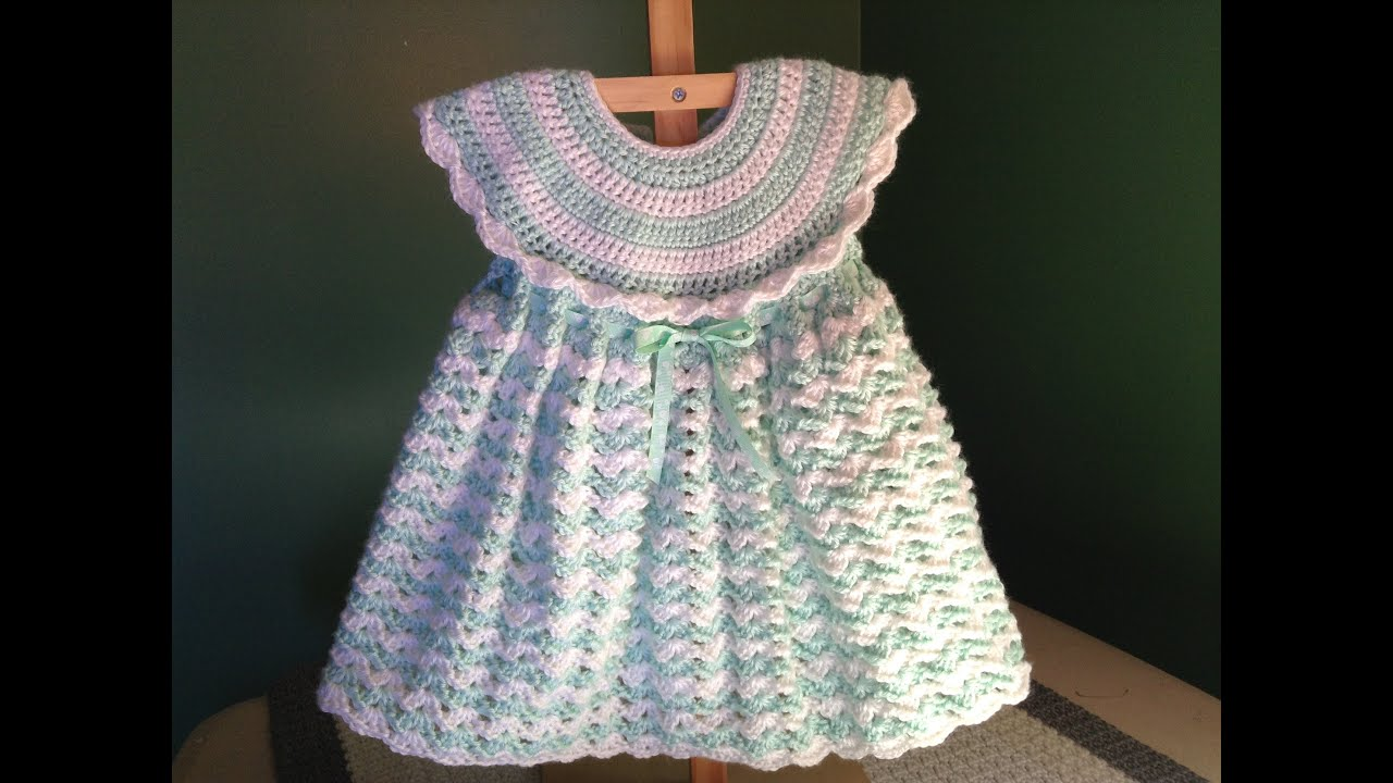 Free Crochet Baby Dress Patterns Easy : How to Crochet a Baby Dress - Easy Shells - YouTube