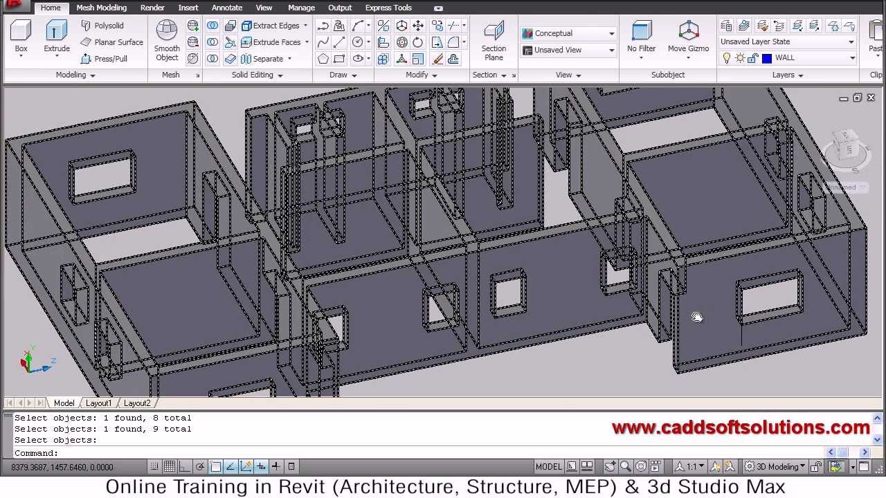 Autocad 3d house modeling tutorial 2 3d home design Room layout builder