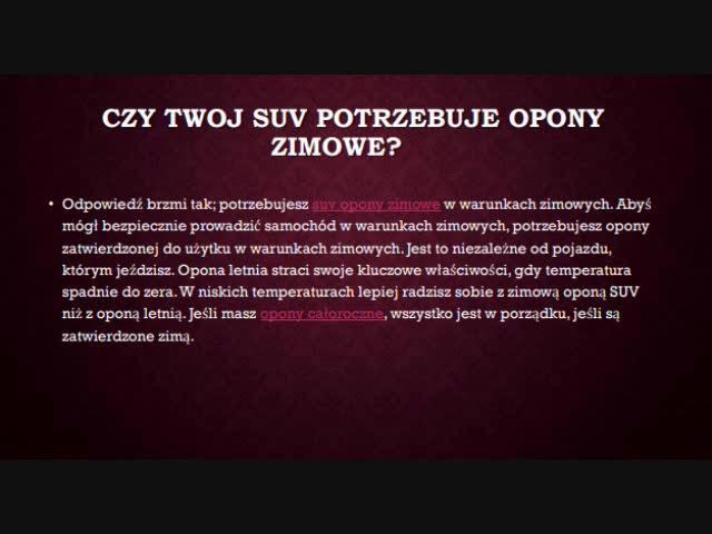Suv Opony Zimowe Opony Letnie