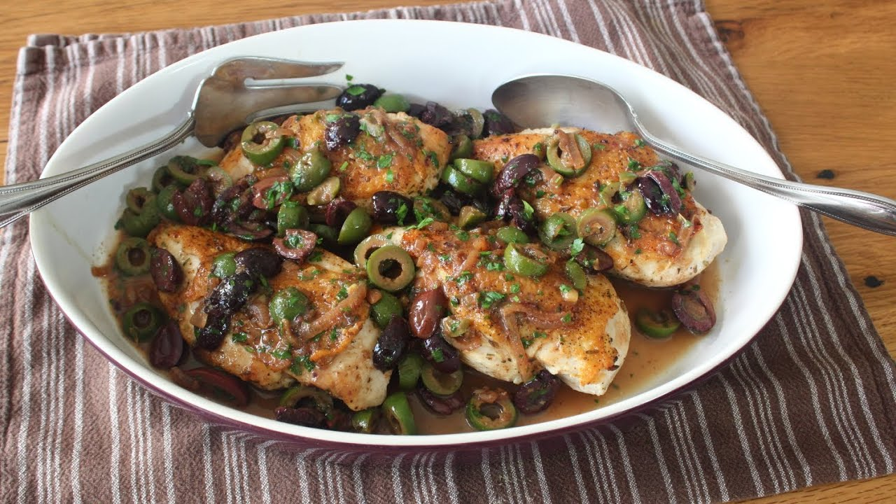 Chicken and Olives Recipe - Chicken Breasts Braised with Olives ...