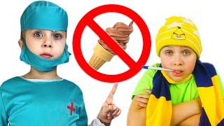 Даша и папа - ИСТОРИЯ о том как вредно кушать много Мороженого Даша как Доктор