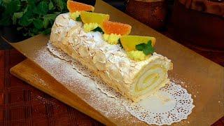 Меренговый Рулет с Лимонным кремом Безе Рулет рецепт без сливок и крем сыра