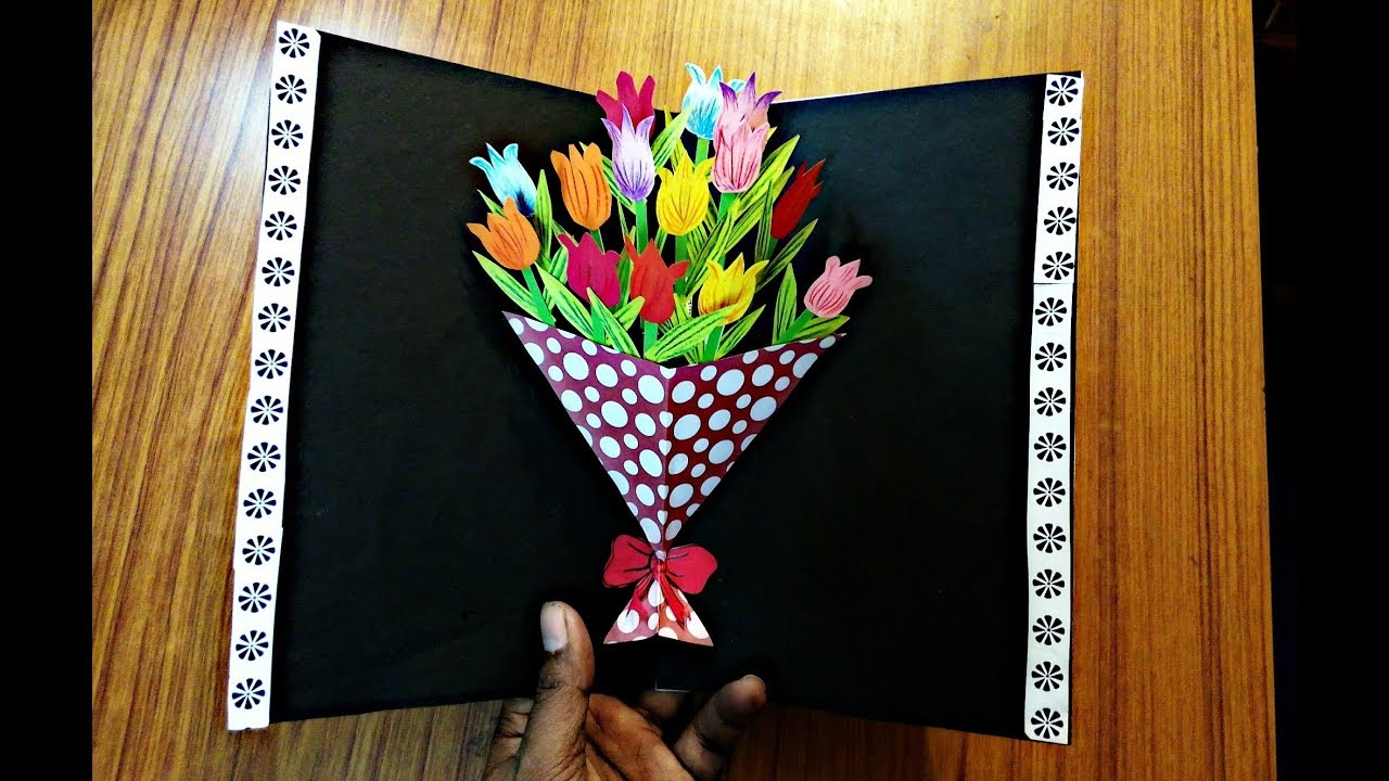 Diy Flower Bouquet Pop Up Card Paper Crafts Handmade Craft Mother S