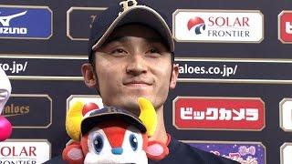 【プロ野球パ】決勝2点タイムリー・伊藤のヒーローインタビュー 2015/09/28 Bs-E