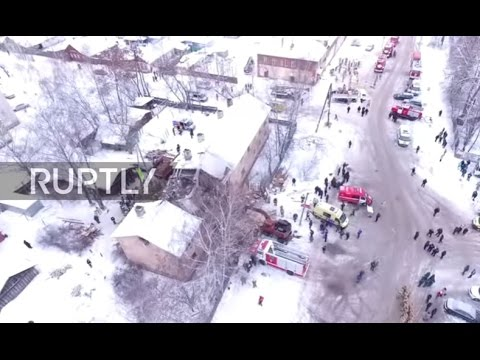 Russia: Drone captures aftermath of deadly gas explosion in Ivanovo