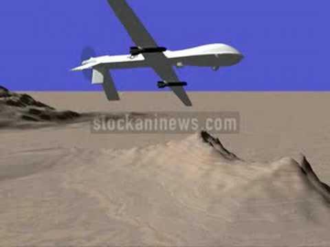 UAV DRONE PREDATOR FIRING HELLFIRE MISSILES