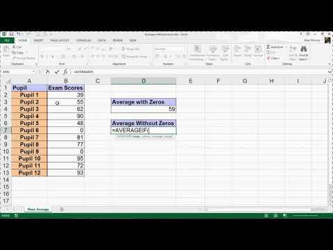 Calculate Average Excluding Zeros - Excel