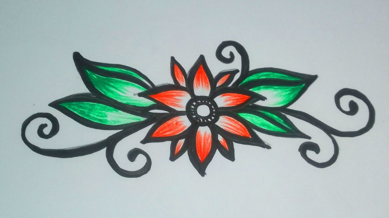 Beautiful Flower Designs Drawing Simple Flower Drawing With Coloring Pencil Youtube