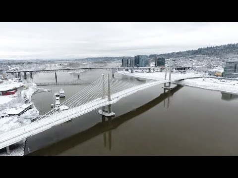 Drone video captures sweeping view of Portland's record snowfall