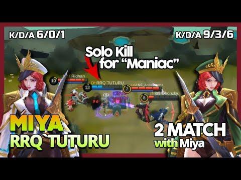 RRQ'Tuturu 1 Vs 4 With Miya? Come! MM Solo Maniac By RRQ'Tuturu '2 Match' ~ MLBB