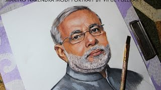 How to Draw Pm Narendra Modi  of India | 2016 Narendra Modi Portrait Painting in water colours
