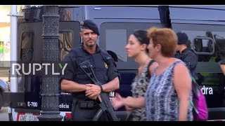Spain  Armed police patrol Las Ramblas as tourists return to Barcelona streets