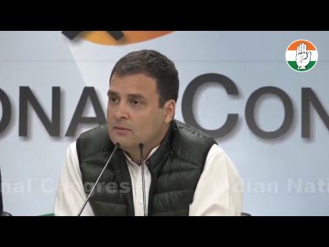 Congress President Rahul Gandhi addresses media at Congress HQ on Rafale Scam
