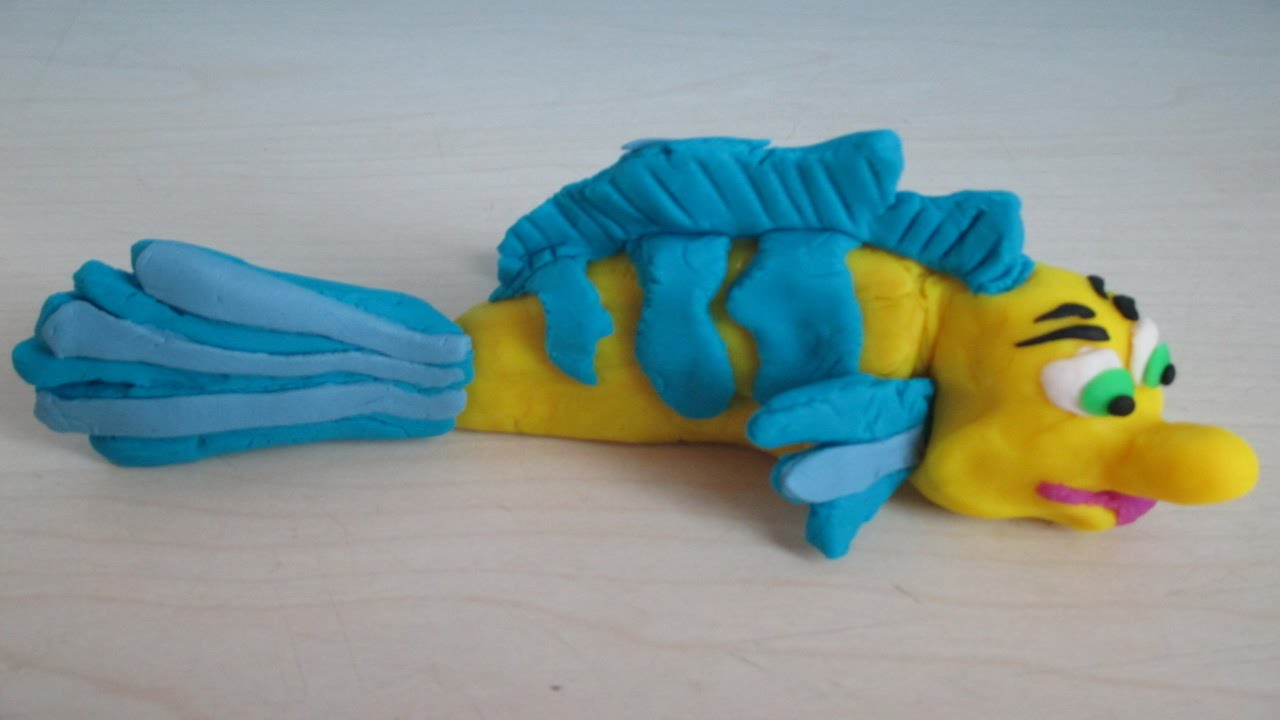 Make Cute Disney Flounder Fish With Play Doh Pate A Modeler 3d Modeling Clay Fun Video Youtube