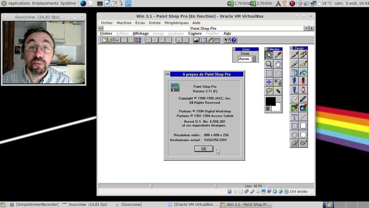 """Super Paint Shop Pro 3, le photoshop du """"pauvre"""" pour MS-Windows 3.1x  DY99"""