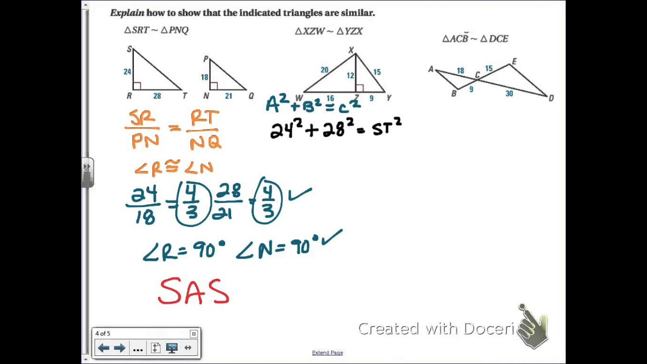 Common Core Math: Proving Similar Triangles with SSS and SAS - YouTube