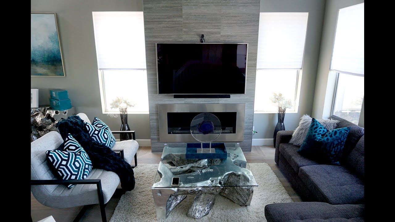 House tour grey and cerulean kitchen living room youtube for Liane v living room