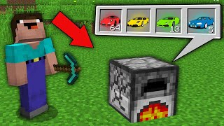 Minecraft NOOB vs PRO: WHAT SUPER CAR DROP NOOB FROM THIS STRANGE FURNACE? Challenge 100% trolling