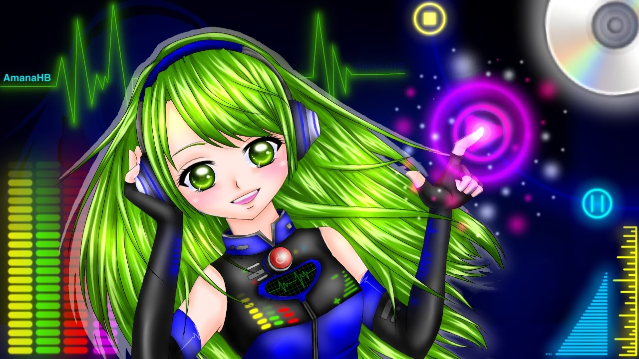 Anime Girl Wallpaper Rainbow Hair Let The Music Play Anime Girl With Headphones