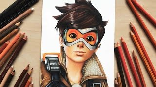 Drawing Tracer from Overwatch using coloured pencils