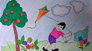 Children flying kite drawing, kids flying kite poster, kite festival poster for kids