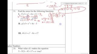 Algebra 2 Semester 1 Final Review - Part 3 (page 5-6)