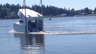 The 52' folding boat, Frog Prince hits the water for testing!