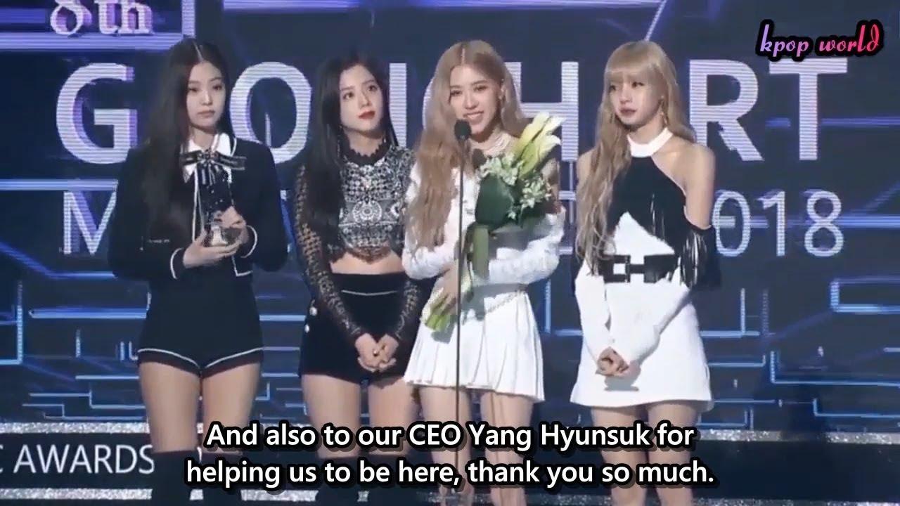 Eng Sub Blackpink Winning Speech At 8th Gaon Chart Music Awards 2019