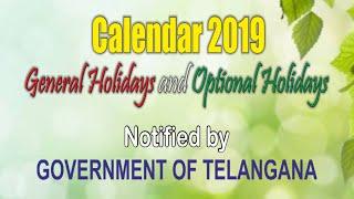 Telangana Govt Holidays Calendar 2019