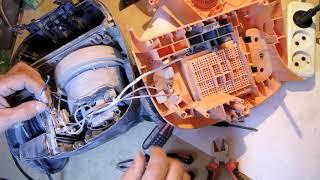 запустить МОТОР пылесоса от 12 вольт обход электроники пылесоса и работа от блока питания